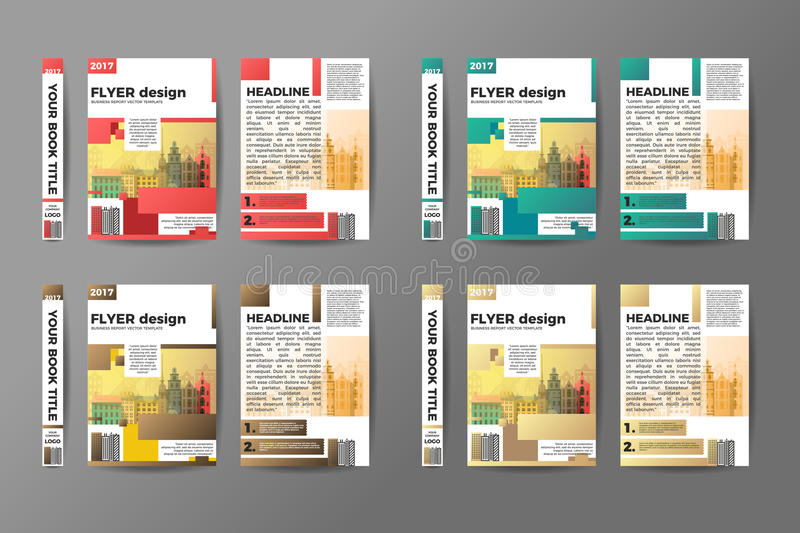 A4 Flyer Design Set. Brochure template vector. Creative book front, back and spine covers. Annual Report Presentation stock illustration