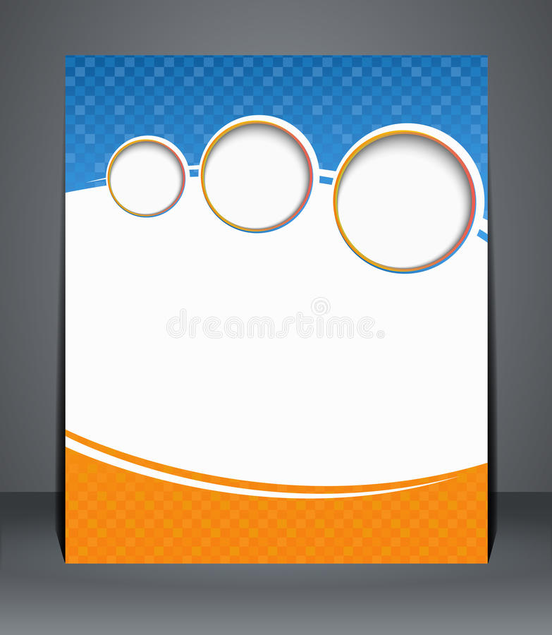 Flyer design, template, or a magazine cover in blu. E and orange colors. Illustration