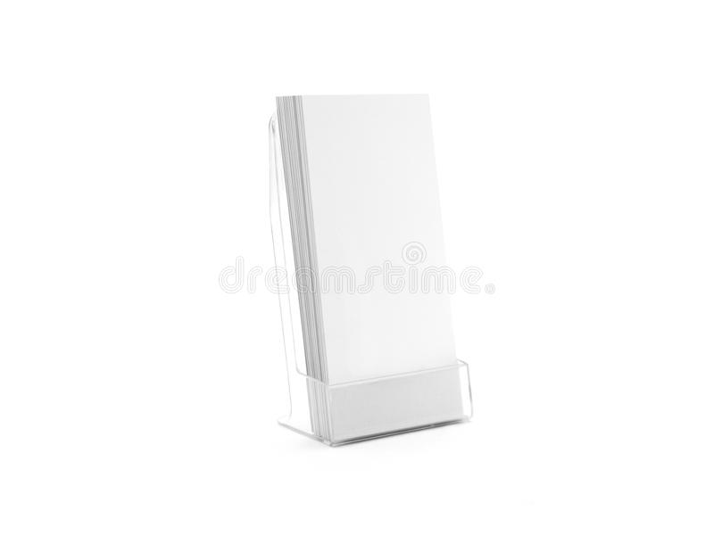 Flyer glass plastic holder. Flier stand. Brochure holding mock up for the design presentation isolated on white. Showing leaflet design. Empty pamphlet royalty free stock photography