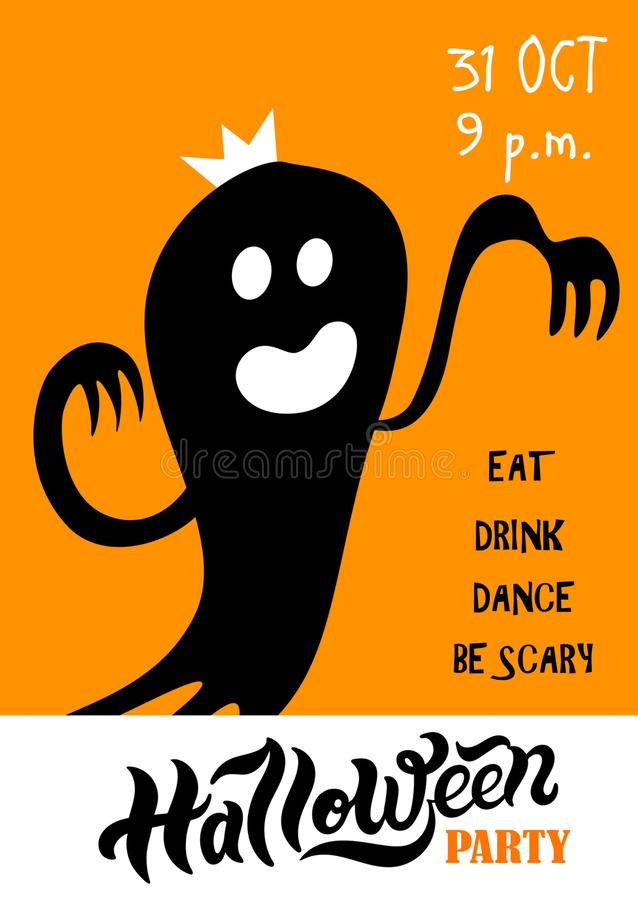 Halloween. Hand drawn lettering and illustration. Flyer for Halloween party or Halloween greeting card. Hand drawn lettering and illustrations. Vector royalty free illustration