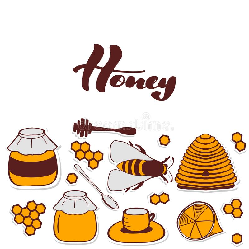 Flyer for honey shop. Nice. Set of honeycombs, beehive, bee, lemon, honey, tea, honey spoon, lettering inscription honey, beekeeping illustration. Vector EPS10 stock illustration