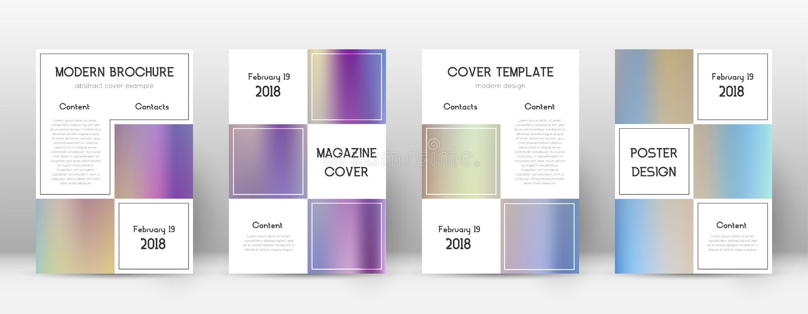 Flyer layout. Business beauteous template for Broc. Hure, Annual Report, Magazine, Poster, Corporate Presentation, Portfolio, Flyer. Adorable color gradients stock illustration
