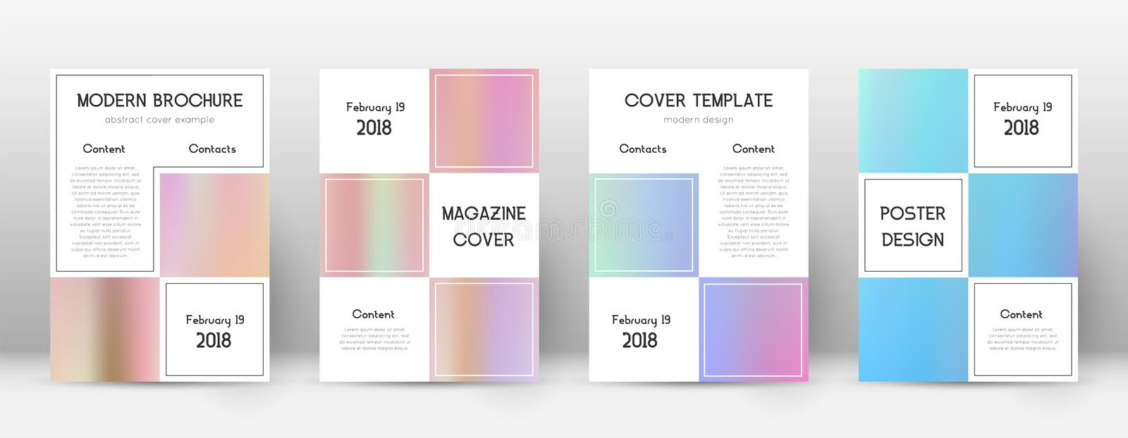 Flyer layout. Business beauteous template for Brochure, Annual Report, Magazine, Poster, Corporate Presentation, Portfolio, Flyer. Alive pastel hologram cover vector illustration