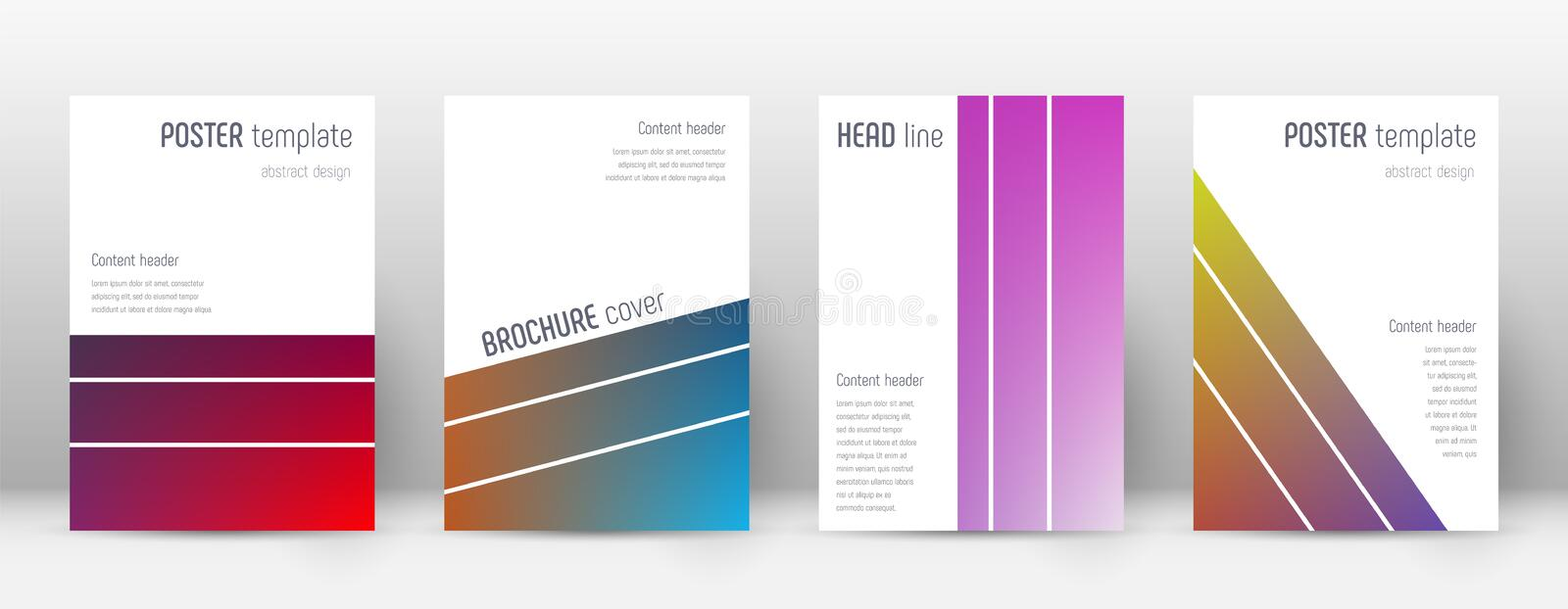 Flyer layout. Geometric exquisite template for Bro. Chure, Annual Report, Magazine, Poster, Corporate Presentation, Portfolio, Flyer. Alluring gradient cover royalty free illustration