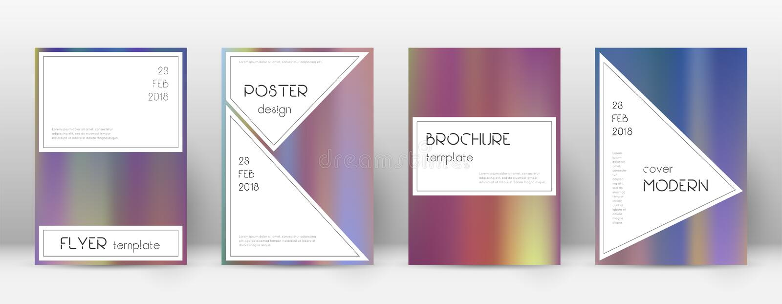 Flyer layout. Stylish majestic template for Brochu. Re, Annual Report, Magazine, Poster, Corporate Presentation, Portfolio, Flyer. Authentic bright hologram stock illustration