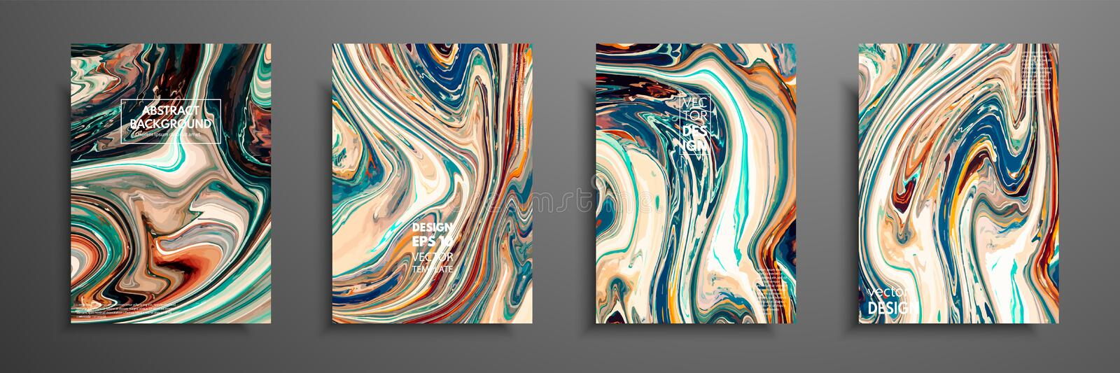 Flyer layout template with mixture of acrylic paints. Liquid marble texture. Fluid art. Applicable for design cover stock illustration