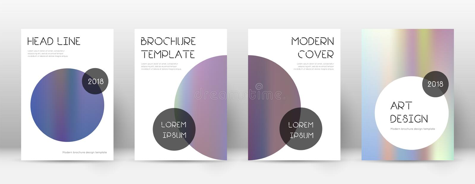 Flyer layout. Trendy classic template for Brochure, Annual Report, Magazine, Poster, Corporate Presentation, Portfolio, Flyer. Beauteous bright hologram cover vector illustration