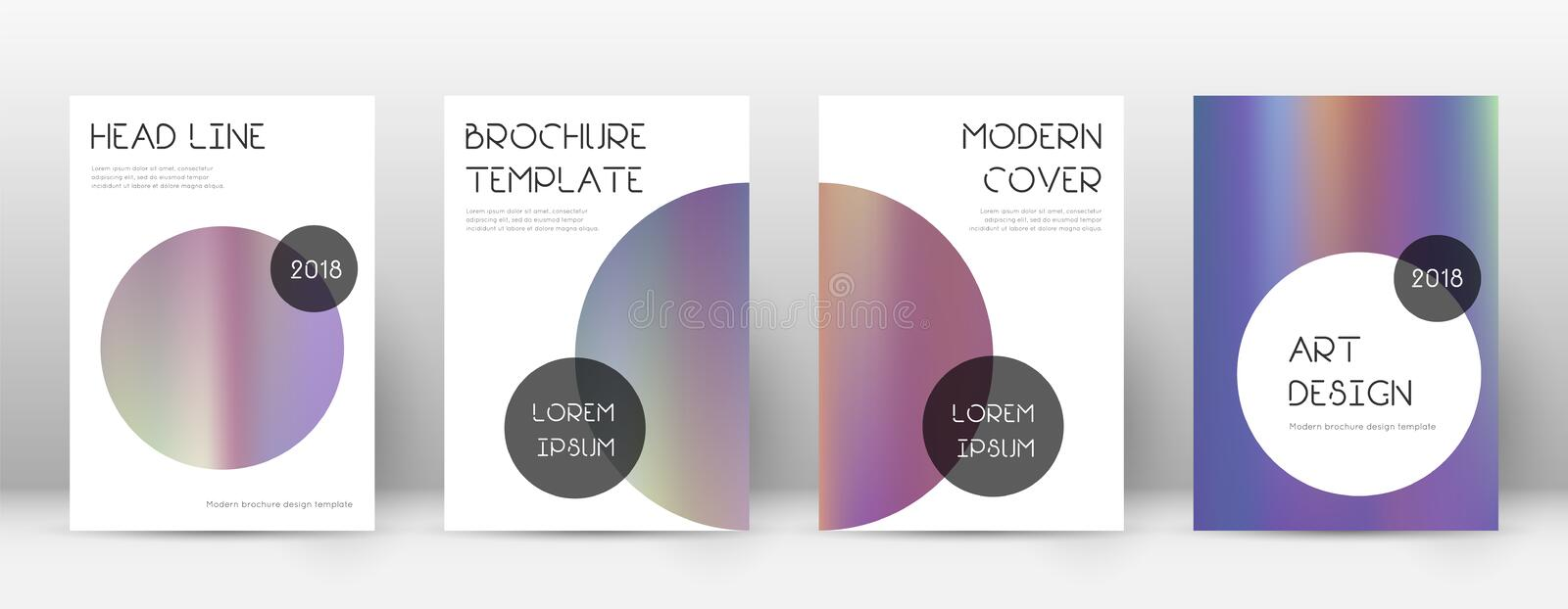 Flyer layout. Trendy cool template for Brochure, Annual Report, Magazine, Poster, Corporate Presentation, Portfolio, Flyer. Beauteous bright hologram cover vector illustration