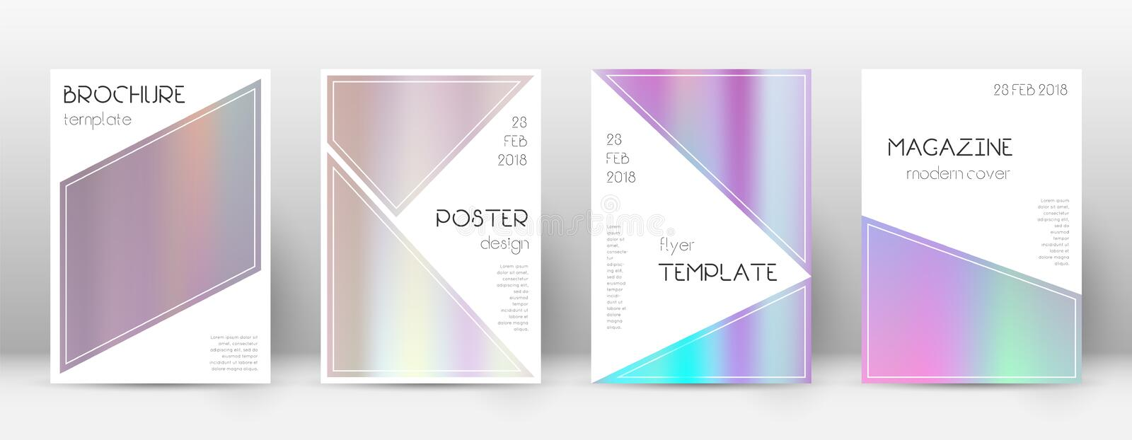 Flyer layout. Triangle beauteous template for Broc. Hure, Annual Report, Magazine, Poster, Corporate Presentation, Portfolio, Flyer. Bizarre pastel hologram royalty free illustration