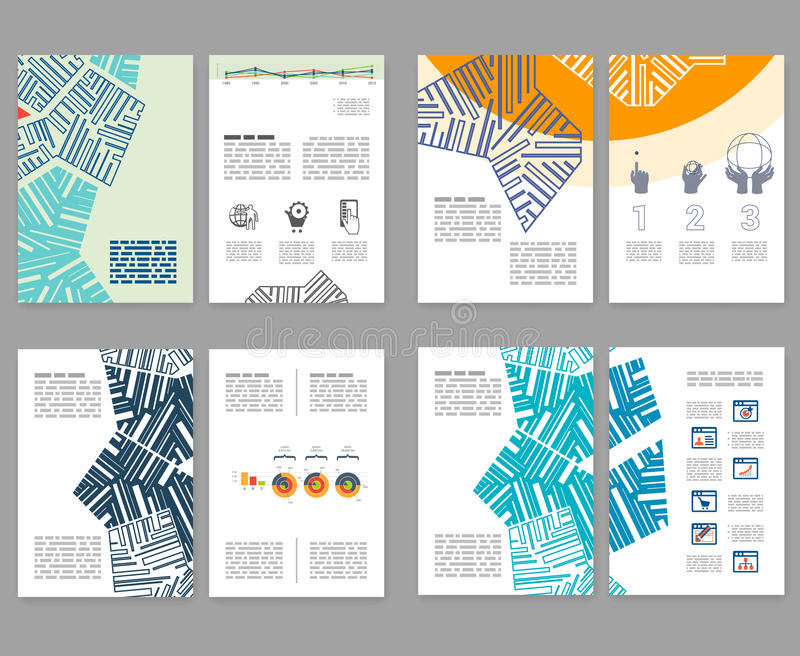 Flyer, leaflet, booklet layout set. Editable design template. A4 2-fold brochure with abstract elements, infographics royalty free illustration