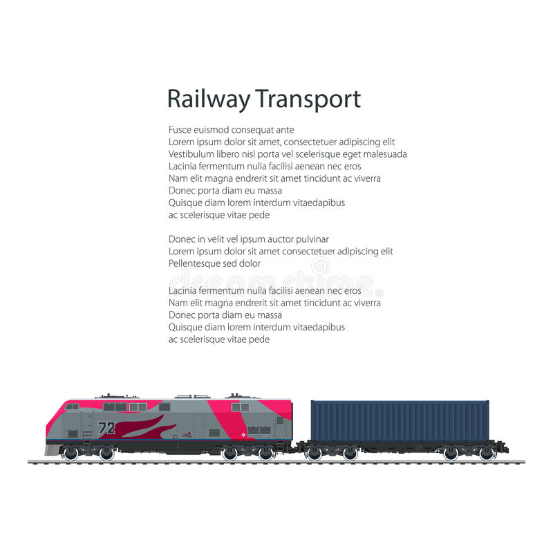 Flyer Locomotive with Cargo Container. On Railroad Platform, Train Isolated on White Background and Text , Rail Freight, Overland Transport, Poster Brochure royalty free illustration