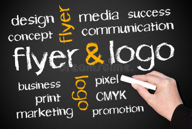 Flyer and logo. ' Flyer and logo' written centrally on a chalk board and related subjects added in smaller sized text above and below stock image