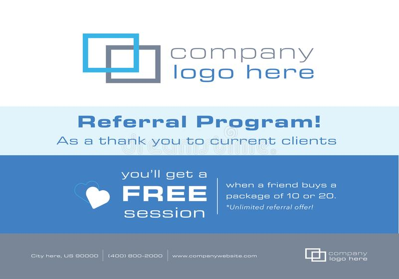 Flyer or Mailer for Business Referral Program. This flyer or mailer is great to promote your business by offering a referral discount to your clients. It can be stock illustration