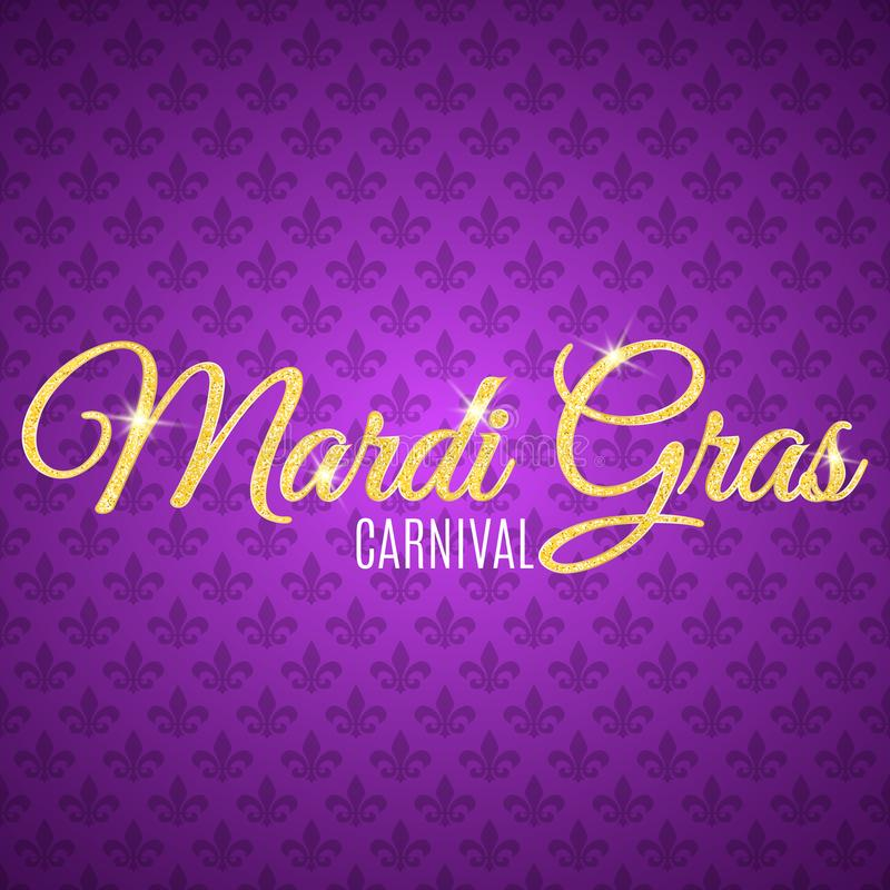 Flyer for Mardi Gras carnival. Gold glitter text with golden sparkles. Seamless pattern from purple heraldic lily. Fleur de lis sy stock illustration