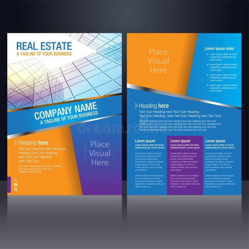 Flyer Design Template Orange And Blue Stock Vector - Illustration of ...