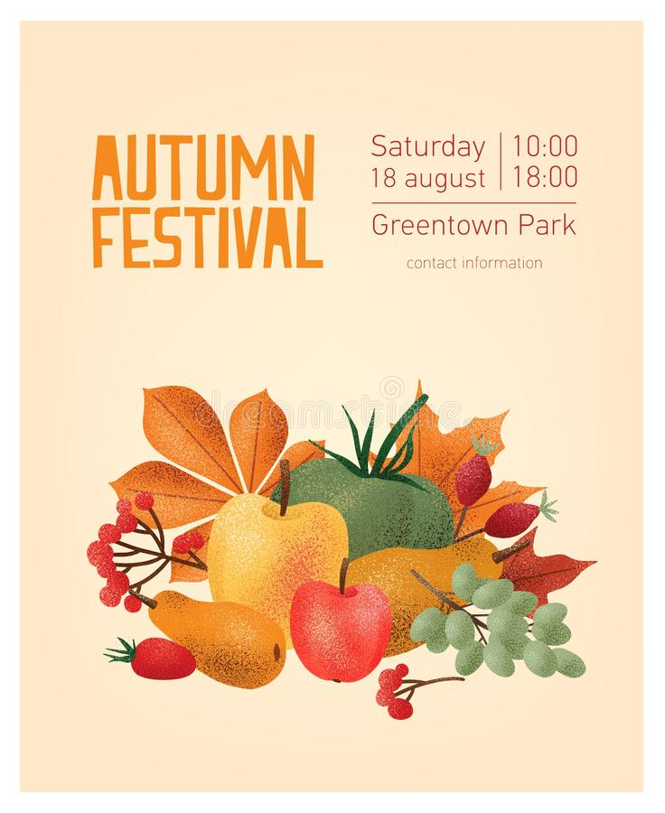 Flyer or poster template for autumn festival with natural organic delicious fruits, vegetables, berries, fallen leaves vector illustration