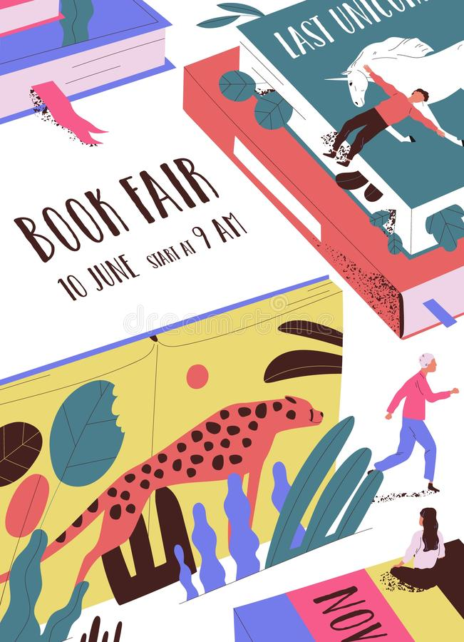 Flyer or poster template with tiny people, giant books and place for text. Book fair, market or exhibition, literature. Festival. Modern flat cartoon vector stock illustration