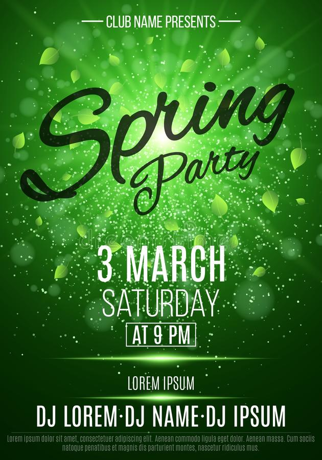 Flyer For A Spring Party Bright Flash Of Light Flying Leaves