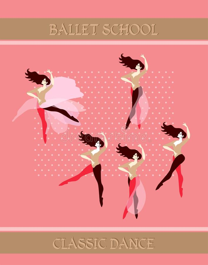 Flyer template. Beautiful young ballerinas practice at a ballet school. Vector illustration. Art deco style stock illustration