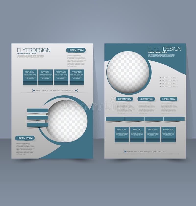 Flyer template. Business brochure. Editable A4 poster for design education presentation, website, magazine cover. Blue color. royalty free illustration