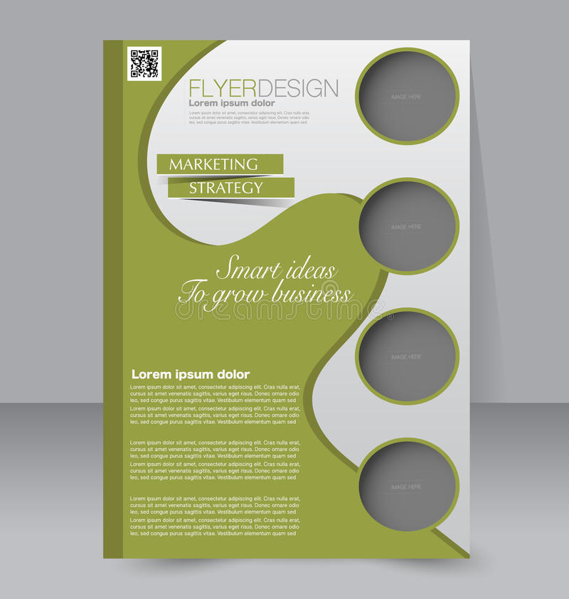 Flyer template. Business brochure. Editable A4 poster for design stock illustration