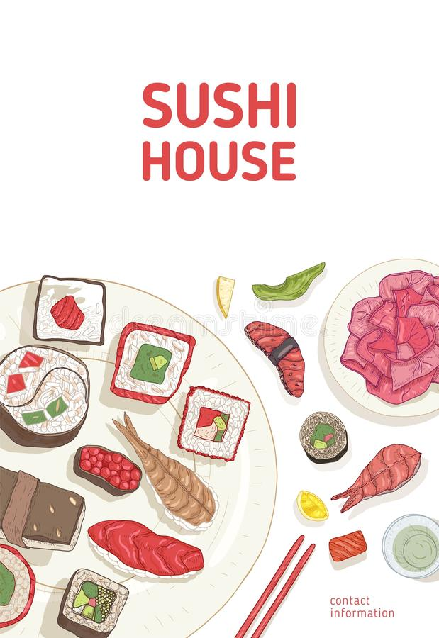 Flyer template with dining table and hands holding sushi, sashimi and rolls with chopsticks on white background. Realistic vector illustration for Sushi House stock illustration