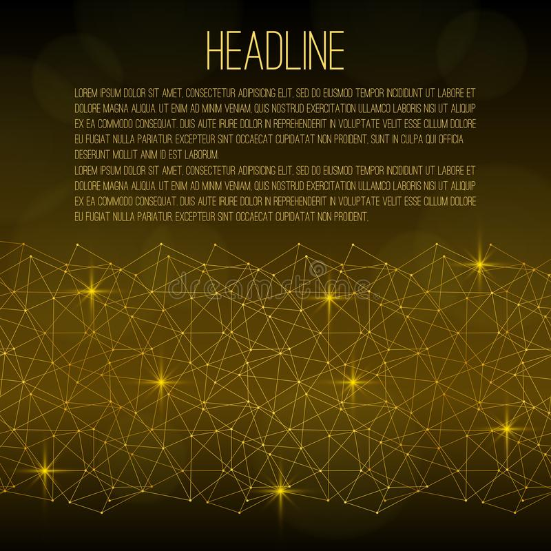 Flyer Template. Golden abstract grid with sparks on a black background. There is place for text. Suitable for scientific, technological, biological, social stock illustration