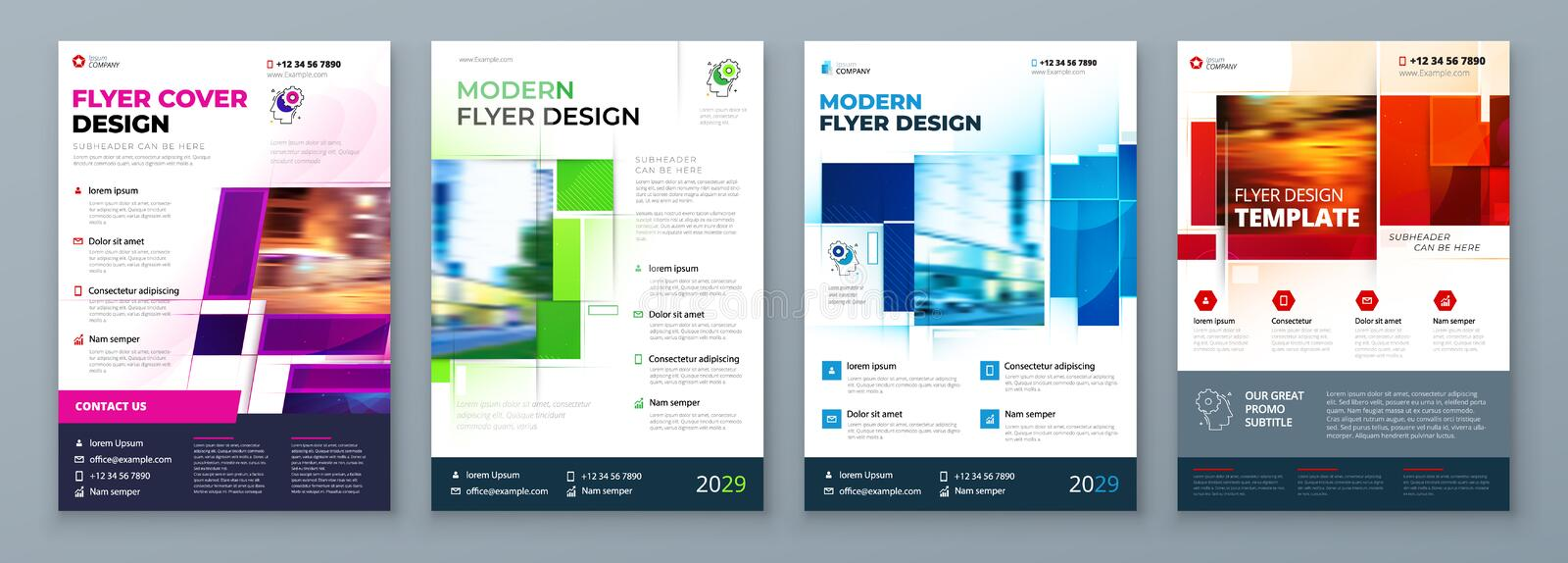 Flyer Template Layout Design Corporate Business Flyer, Report, Catalog, Magazine Mockup Kreatives, modernes Lichtkonzept stock abbildung