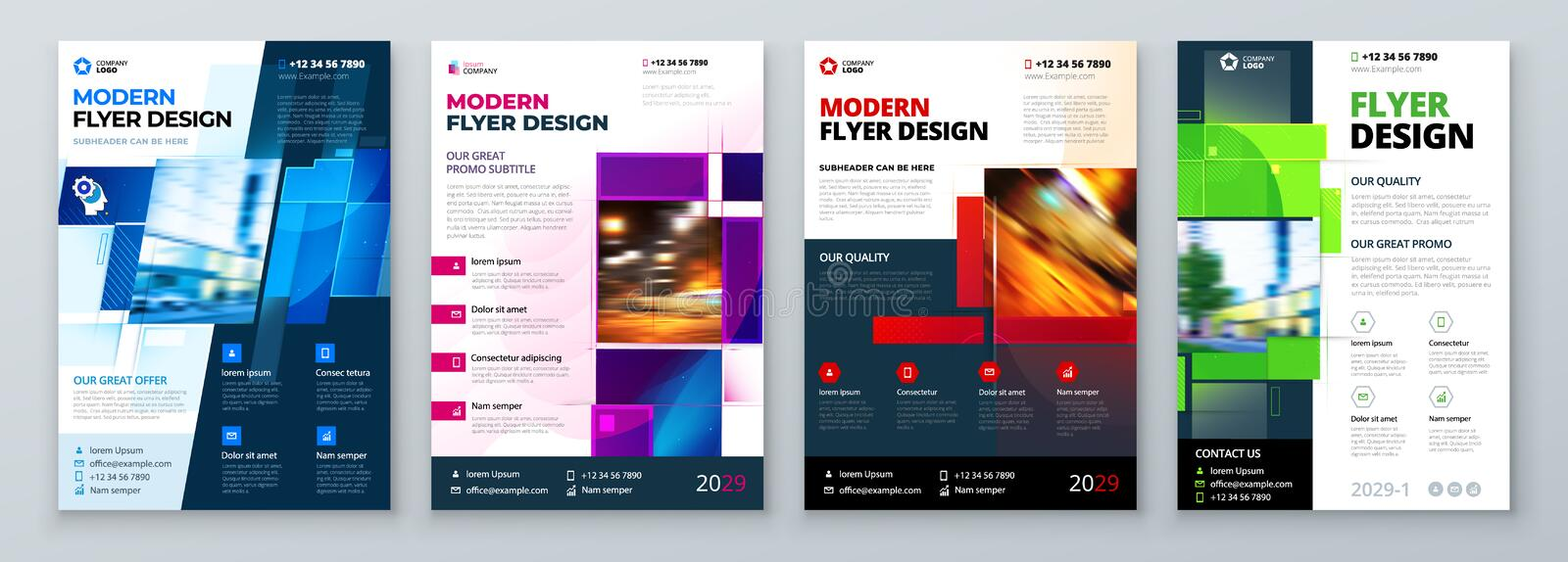 Flyer Template Layout Design Corporate Business Flyer, Report, Catalog, Magazine Mockup Kreatives, modernes Lichtkonzept vektor abbildung