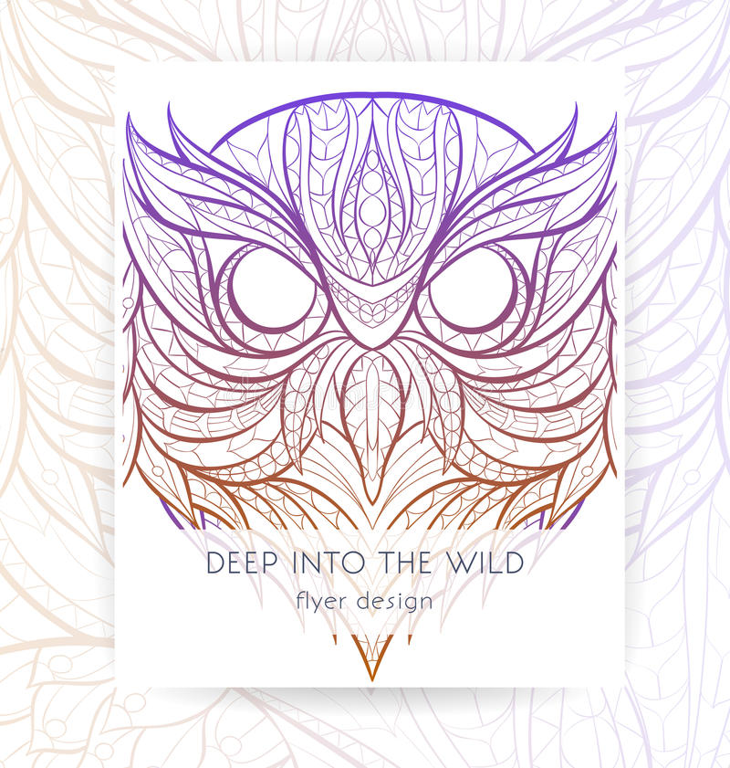 Flyer template with patterned head of owl. royalty free illustration