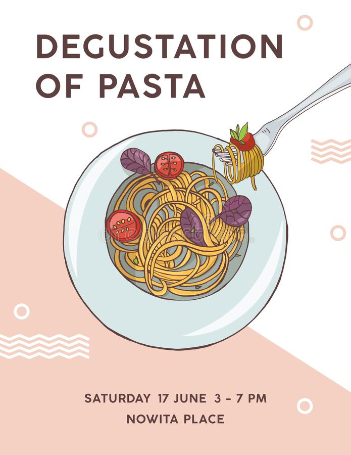 Flyer template with plate of appetizing spaghetti with tomatoes. Degustation of pasta, delicious traditional Italian. Meal. Colorful vector illustration for vector illustration