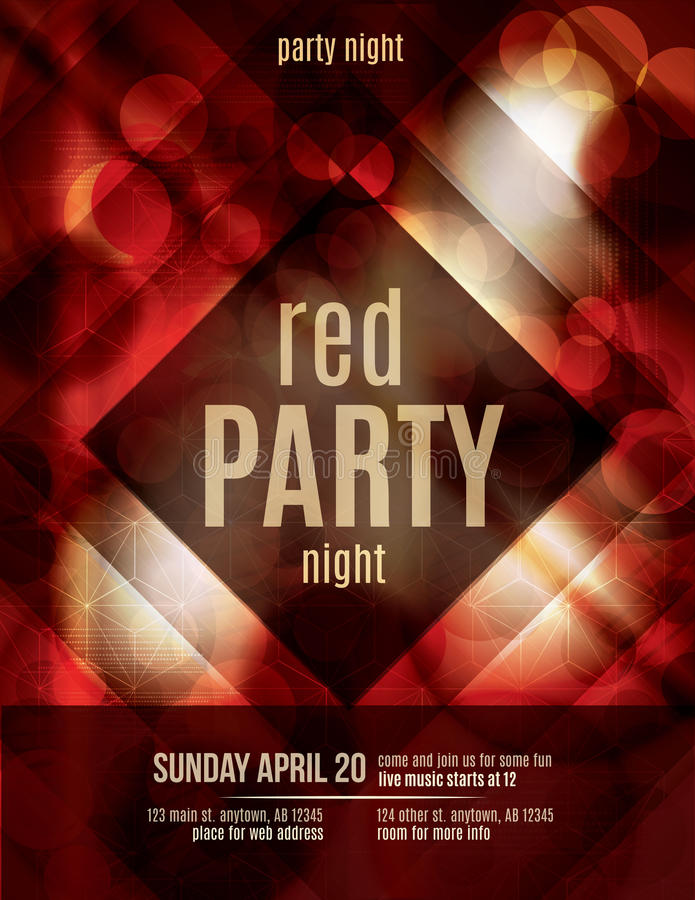 Flyer template with red background. Red Light Effect party invitation flyer template royalty free illustration