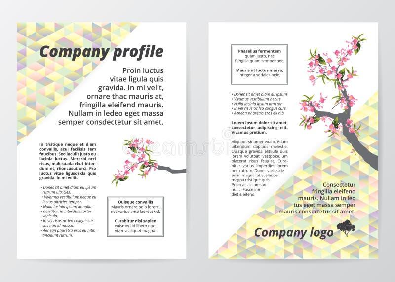 Flyer template sakura tree (cherry blossom) illustration on colorful low polygon background. royalty free illustration