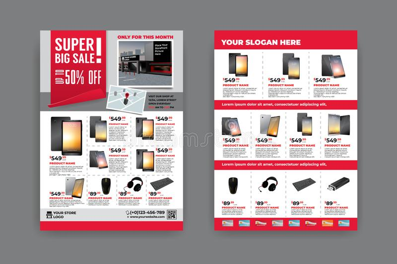 Flyer template for Sale Promotion. 2 sides flyer template for Sale Promotion with Sample Product Images, for A4 paper size with 3mm. bleeds area, CMYK Color vector illustration