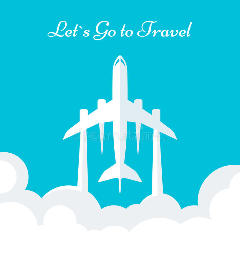 Flyer Travel. On a blue isolated background. Poster with plane and Lets Go to Travel - Stock Vector royalty free illustration
