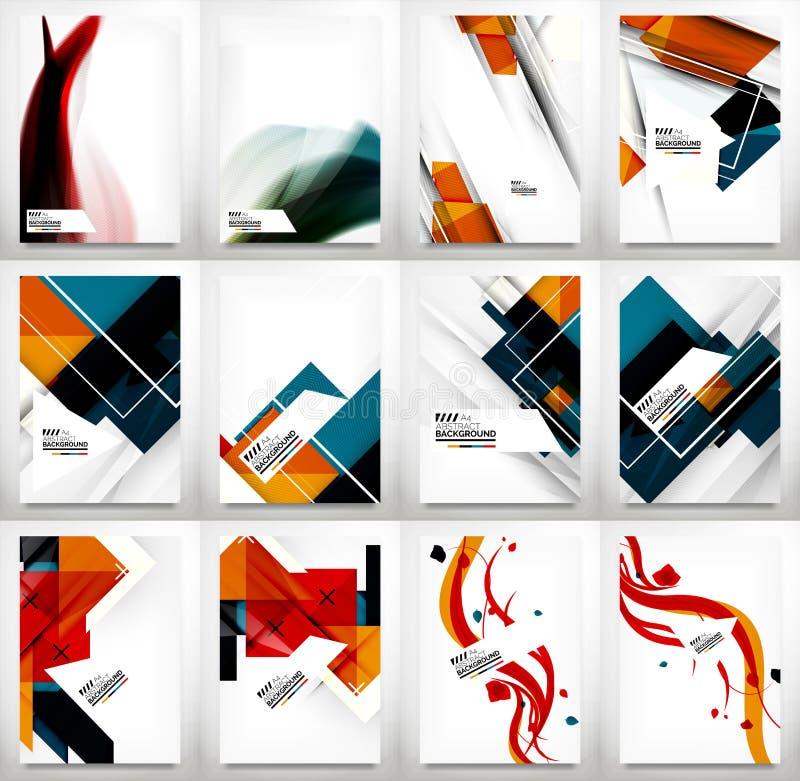 Flyers, Brochure Design Template Set. Flyer, Brochure Design Template Set, Business Abstract Geometric Backgrounds, Web or Print Designs stock illustration