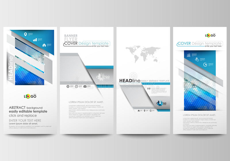 Flyers set, modern banners. Business templates. Cover design template, easy editable, flat layouts. Abstract triangles. Flyers set, modern banners. Business vector illustration