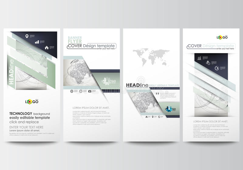 Flyers set, modern banners. Business templates. Cover design template, easy editable, flat layouts. Dotted world globe stock illustration