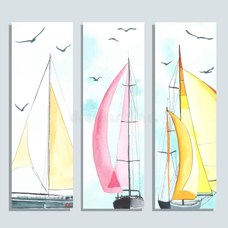 Flyers with watercolor sailboats vector illustration