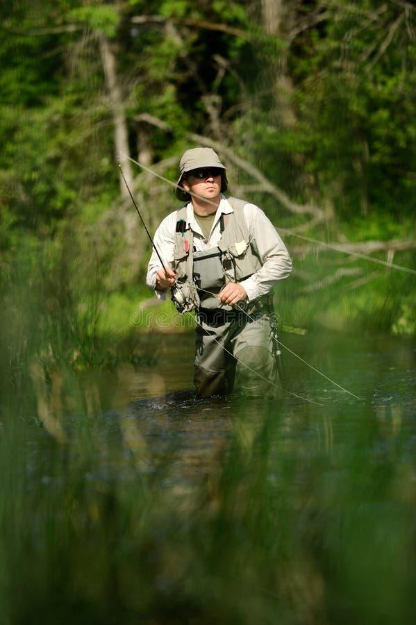 flyfisher wędkarska rzeka obraz stock