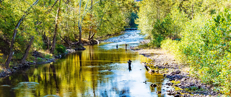 Flyfishers en un río fotografía de archivo