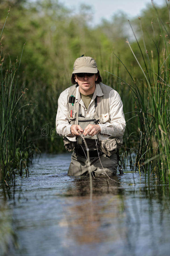 Flyfishing royalty-vrije stock foto