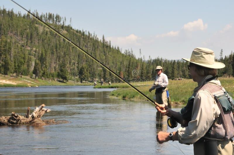 Flyfishing Senior Couple Royalty Free Stock Photography