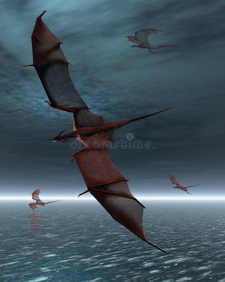 Flyg av röda drakar över havet vektor illustrationer