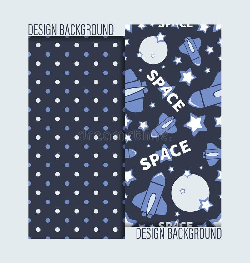 Flyg av rymdfärjan bland planeten, stjärnorna och prickbakgrunden royaltyfri illustrationer