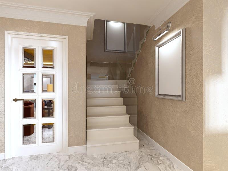 Flyg av trappa med räcke som göras av exponeringsglas royaltyfri illustrationer