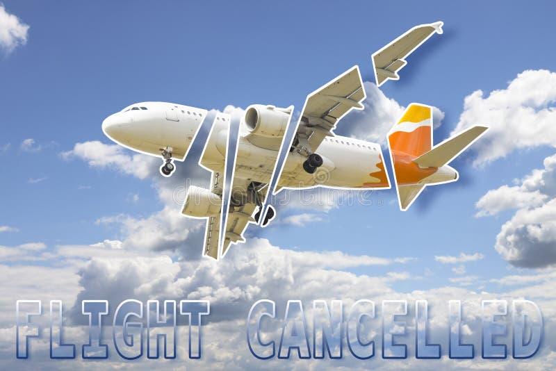 Flyg avbruten begreppsbild mot en molnig himmel royaltyfri fotografi