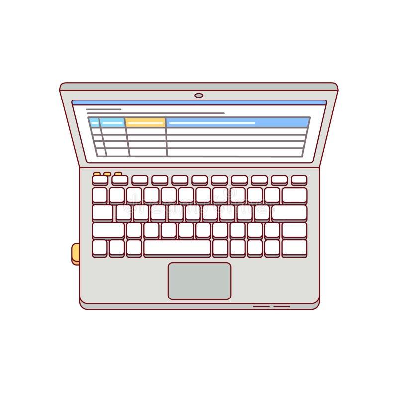 Flyg- bästa sikt för bärbar datordator royaltyfri illustrationer