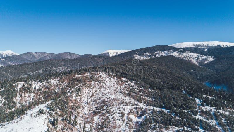 flyg- bergsikt snow Vinter arkivbilder