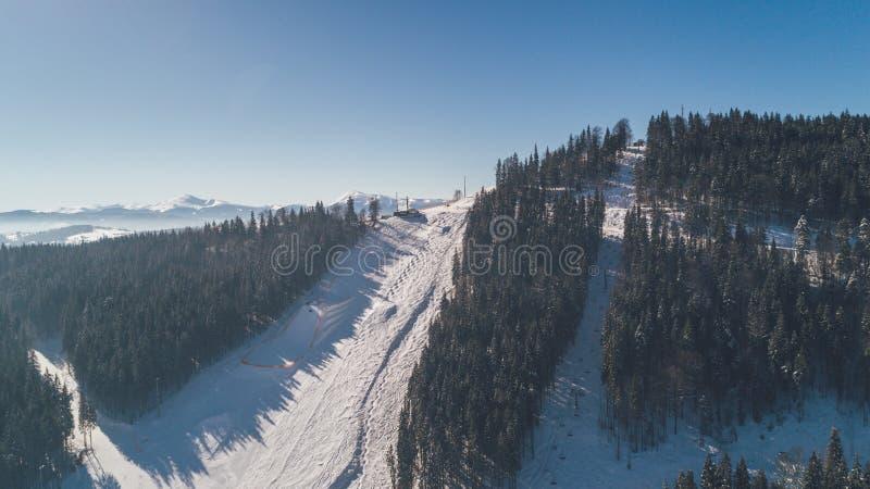 flyg- bergsikt snow Vinter arkivbild